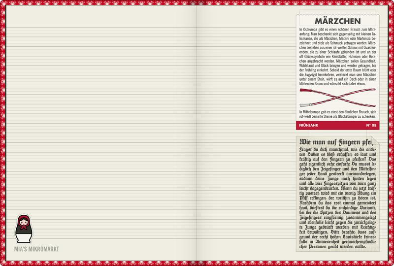 Lily Lux Notizbuch mit Anleitung zum Basteln von Märzchen oder Marzini und einer Anleitung, wie man laut auf den Fingern pfeift