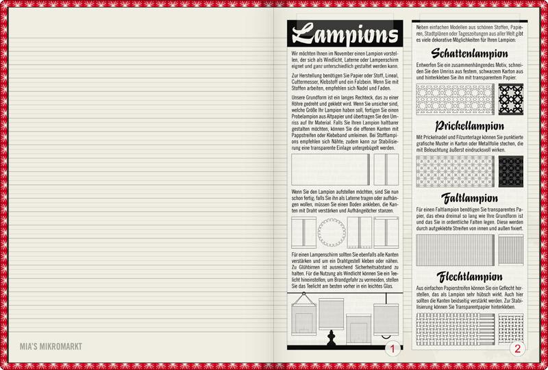 Anleitung zum Basteln verschiedener einfacher und dekorativer Lampions und Laternen, wie einem Schattenlampion oder einer Schattenlaterne, einem Prickellampion oder einer Pickellaterne, einem Faltlampion oder einer Faltlaterne sowie einem Flechtlampion oder einer Flechtlaterne, für Lily Lux Notizbuch