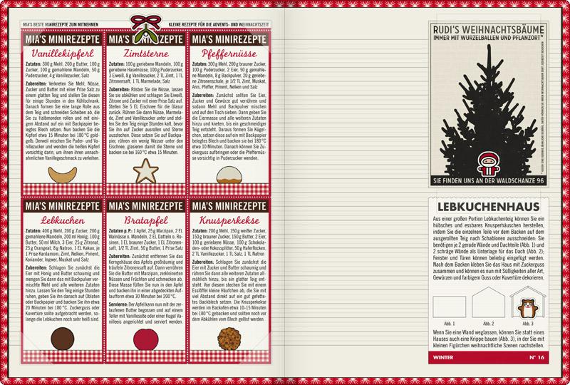 Doppelseite mit einem Sammelalbum für Advents- und Weihnachtsgebäck mit kleinen Rezepten für Vanillekipferl, Zimtsterne, Pfeffernüsse, Lebkuchen, Bratäpfel und Knusperkekse, einer Anleitung für ein Lebkuchenhaus zum Selberbauen und einer Anzeige von Rudi's Weihnachtsbaumverkauf mit Wurzelballen und Pflanzort, für unser Lily Lux Notizbuch