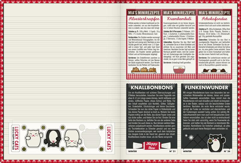 Doppelseite mit Sammelalbum zur Feier von Silvester mit Aufklebern von Winkekatzen (Lucky Cats), kleinen Rezepten für italienische Silvesterkrapfen namens Pettole, die nicht nur gut schmecken, sondern auch ein wunderbares Orakel sind, die feierliche Feuerzangenbowle Krambambuli und ein köstliches Schokoladenfondue sowie kleine Anleitungen für selbstgemachte Knallbonbons und ein kleines Funkenwunder mit Wunderkerzen im Lily Lux Notizbuch