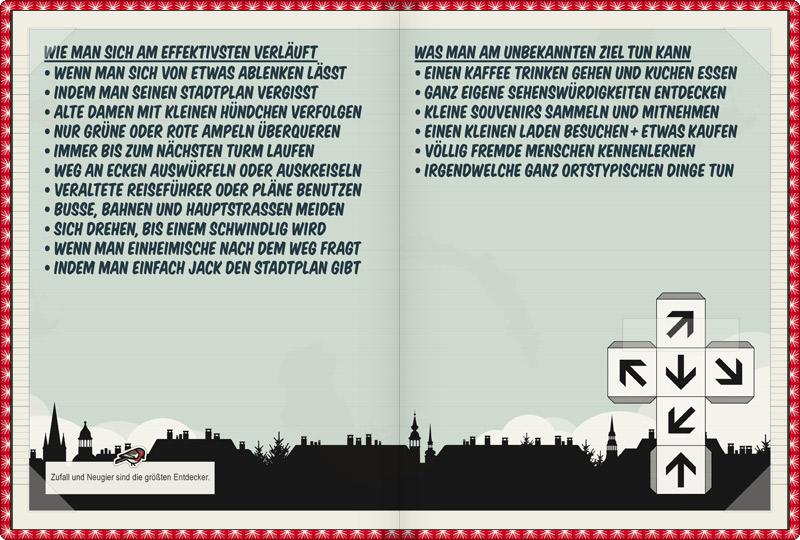 Seite im Lily Lux Notizbuch mit einer Anleitung, wie man sich am effektivsten verläuft und was man am noch unbekannten Ort tun und entdecken kann, auch um sich als Touristin in seiner Heimatstadt zu fühlen