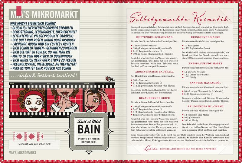 Schönheit und Kosmetik im Lily Lux Notizbuch mit allem, was schön macht, Komplimenten und Rezepten für selbstgemachte Schaumbad, Badesalz, Seife, Maske, Massageöl und Milchbad zum Selbermachen