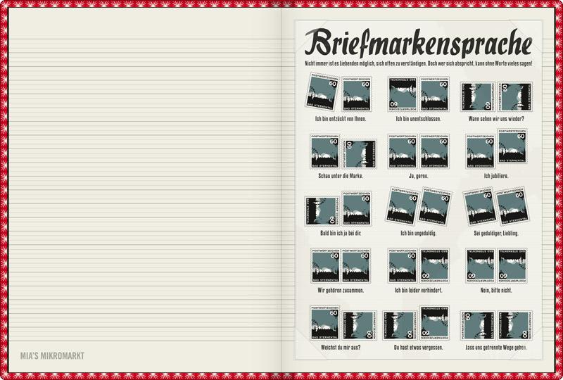 Infografik mit einer Anleitung zur Briefmarkensprache, einem geheimen Code für Liebende, die sich mit Briefmarken verständigen, um die wirklich wichtigen Dinge ohne Worte zu sagen, im Lily Lux Notizbuch