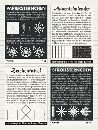 Doppelseite mit einem Sammelalbum zum Basteln im Advent mit Anleitungen für Papiersternchen, Strohsternchen und Adventskalendern zum Selbermachen sowie der Auflösung des bekannten Zeichenrätsels Das Haus vom Nikolaus