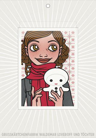 Elektronische Grußkarte von Lily Lux mit Passbild und Schneemann