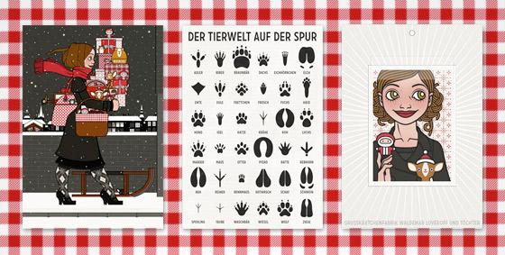 Lily Lux Elektronische Grußkarten mit Weihnachtsgeschenken, Tierspuren und Passbild mit Nikolaus und weihnachtlich dekoriertem Reh