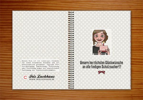 Logbuch für den Geocache Stille Post für die Lily Lux Geocaching-Aktion Reisendes Notizbuch