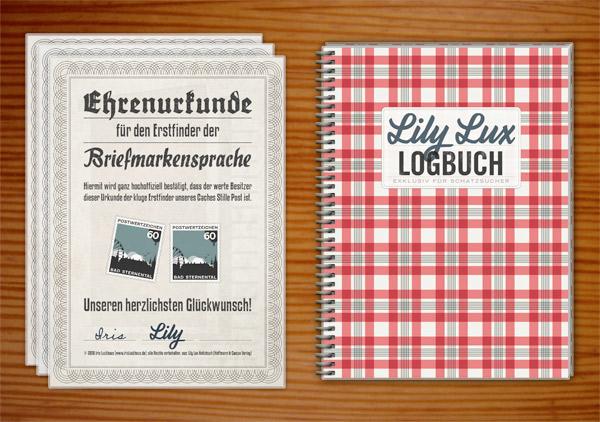 Urkunden für die Erstfinder der Stillen Post für die Lily Lux Geocaching-Aktion Reisendes Notizbuch