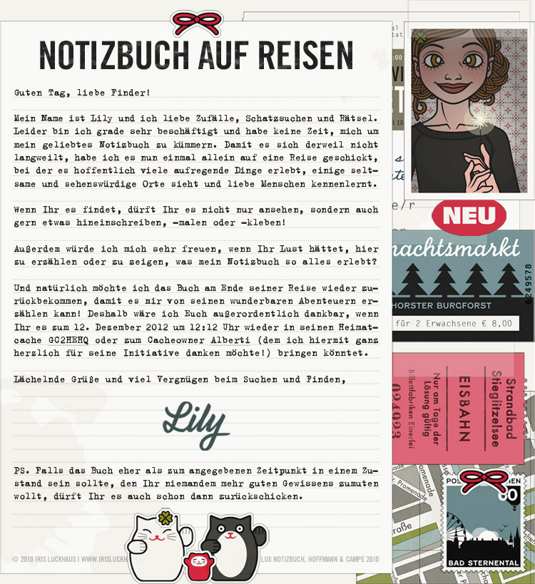 Collage für den Finder für die Lily Lux Geocaching-Aktion Reisendes Notizbuch