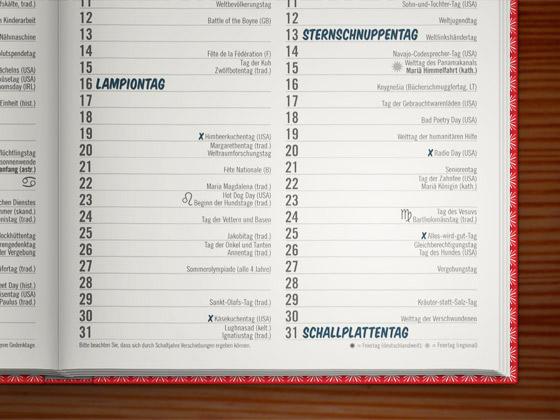 Feiertage im Kalender im Lily Lux Notizbuch mit 365 Feiertagen für das ganze Jahr