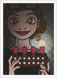 Lily Lux Passbild zum ersten Advent mit mit Dunkeln leuchtendem Adventskranz