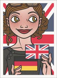 Lily Lux Passbild zur Feier der Zweisprachigkeit mit deutscher und englischer Fahne