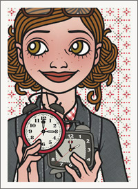 Lily Lux Passbild mit Weckern zur Zeitumstellung