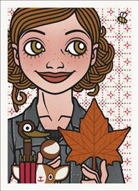 Lily Lux Passbild mit Herbstblatt, Schirm und Kastanie