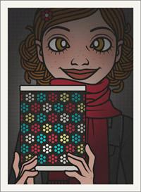 Lily Lux Passbild mit bunter Laterne im Dunkeln