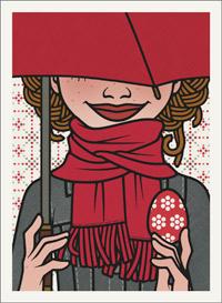 Lily Lux mit ihrem roten Schirm und Osterei