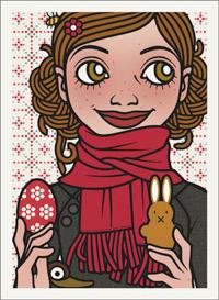 Lily Lux Passbild mit bemaltem Osterei und Hase