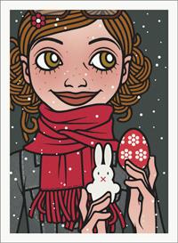 Lily Lux Passbild im Schnee mit Osterei und Osterhase