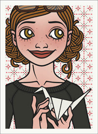 Passbild mit Lily Lux beim Basteln eines Papierkranichs