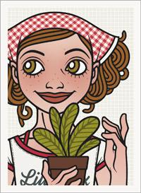 Lily Lux Passbild mit Kopftuch und Topfpflanze