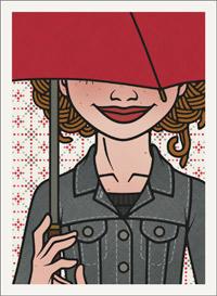 Lily Lux Passbild unterm Regenschirm