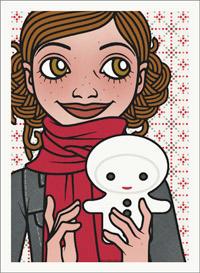 Lily Lux Passbild mit enem kleinen Schneemann