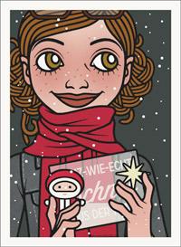 Lily Lux Passbild mit Nikolaus und einer Tüte voll Schnee