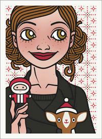 Lily Lux Passbild mit Weihnachtsmann und Reh mit Nikolausmütze
