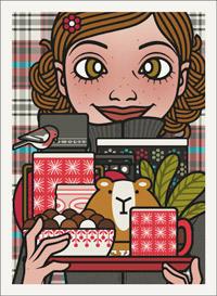 Lily Lux Passbild mit einem Wohlfühl Tablett mit Laterne, Tee in einer Thermoskanne, Keksen, Pralinen und Tasse