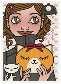Lily Lux Passbild mit Kürbiskopf als Katze