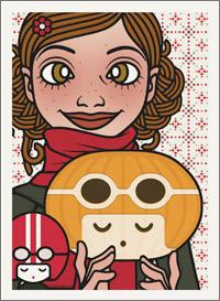 Lily Lux Passbild mit Kürbis als Mädchenkopf Fräuleinwunder