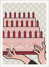 Lily Lux Passbild mit riesiger Torte zur Verlosung beim Rehrätsel