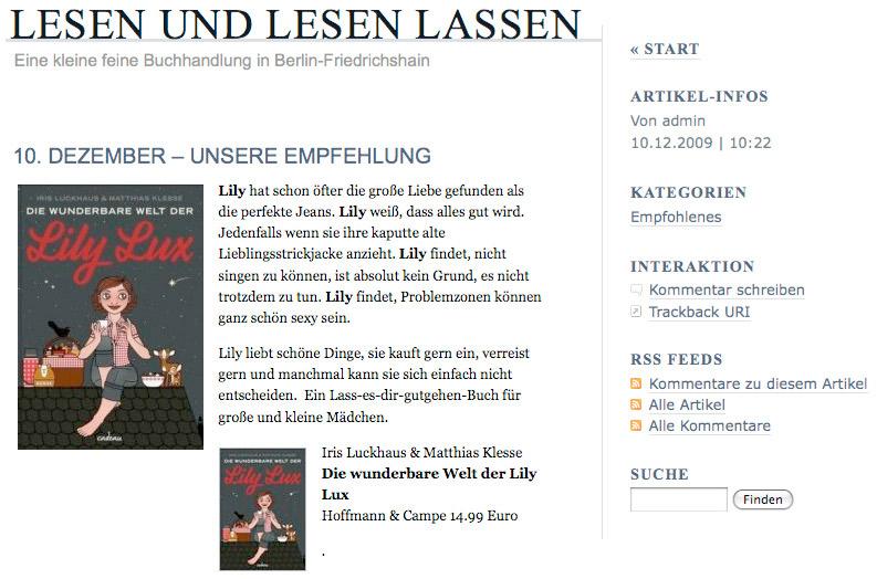 Die wunderbare Welt der Lily Lux als Empfehlung bei Lesen und lesen lassen