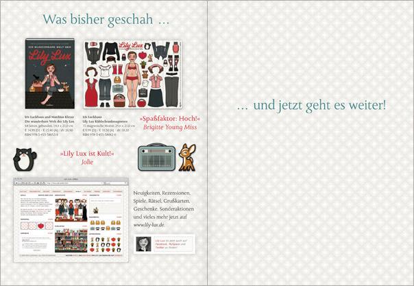 Die wunderbare Welt der Lily Lux, Lily Lux Kühlschrankmagnete und Website in der Verlagsvorschau von Cadeau bei Hoffmann & Campe