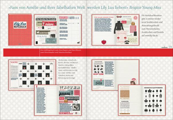 Vorstellung von Seiten aus dem Lily Lux Notizbuch in der Verlagsvorschau von Cadeau bei Hoffmann & Campe