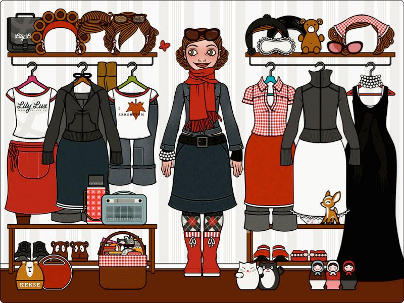 Lily Lux Ankleidepuppe mit allen Kleidungsstücken, Accessoires und Figuren aus den Büchern als Flash Spiel
